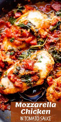 Italian Tomato Sauce, Creamy Tomato Sauce, Mozzarella Chicken, Spinach Stuffed Chicken, Meat Recipes, Cooking Recipes, Turkey Recipes, Different Chicken Recipes, Easy Chicken Dinner Recipes