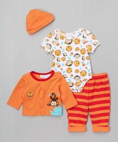 Orange Monkey Layette Set