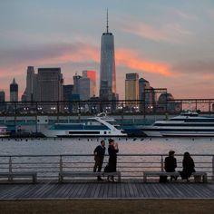Sunset skies fading over lower Manhattan