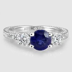 18K White Gold Sapphire Antique Scroll Three Stone Trellis Ring // Set with a 6mm Round Blue Sapphire #BrilliantEarth