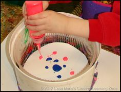 Spin! Art motion - with a salad spinner. Ask yard sale people to hold these to the side?