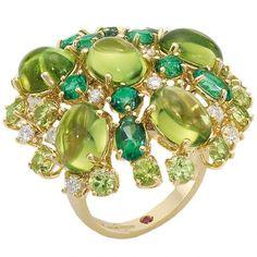Peridot, diamond, and tourmaline ring by Roberto Coin