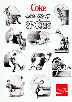 Coke Adds Life to Sports These illustrations of various sports illustrations graced the cover of notebooks in 1970. Download Image