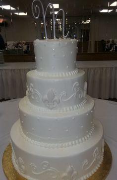 Calumet Bakery  Wedding cake with Fleur De Lis details