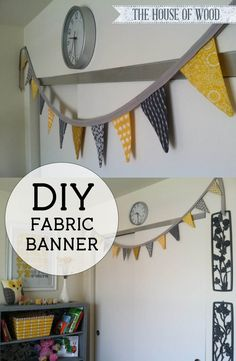 Make your own fabric bunting banner with this tutorial by Jen Woodhouse from The House of Wood. Easy, beginner DIY project to decorate your child's nursery!