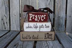 Primitive Prayer Wood Block Set Stacker . . . Inspirational faith religious christian custom wood blocks primitive country gift
