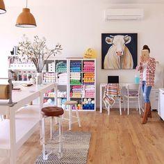 Crochet creative space - designer craft studio with yarn storage.