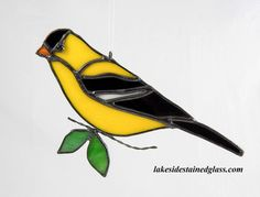 Stained Glass Goldfinch Ornament  Bird by LakeSideStainedGlass