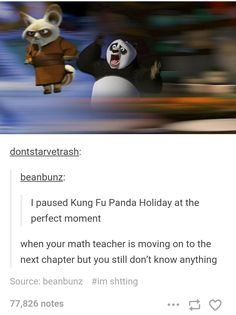 i don't really like kung fu panda but this is really fucking funny All Meme, Stupid Funny Memes, Haha Funny, Funny Posts, Funny Cute, Funny Stuff, Random Stuff, Funny Tweets, Dreamworks