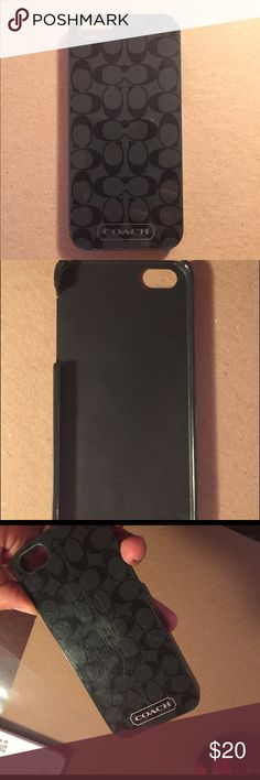 iPhone 5s Coach Phone case Gently used. Some slight scuffs on surface from use. Black and gray print with silver coach logo. Coach Accessories Phone Cases