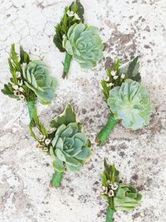 succulent wedding flower boutonniere, groom boutonniere, groom flowers, add pic source on comment and we will update it. www.myfloweraffair.com can create this beautiful wedding flower look.
