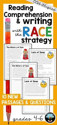 Need help getting kids to answer short response question? Writing with the RACE Strategy can be a helpful tool to improve student writing. This packet also contains multiple choice reading comprehension questions, perfect for test prep!
