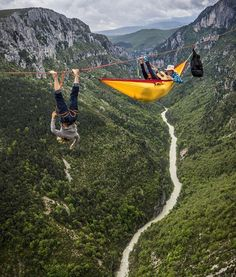 Extreme sports: rock climbing and hammock camping taken to the next level. Adventure Awaits, Adventure Travel, Lost In America, Into The Wild, Oh The Places You'll Go, Places To Visit, Kayak, Escalade, To Infinity And Beyond