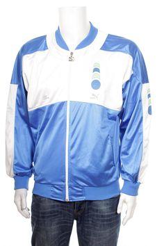 e2a5311f24f8 Vintage 90s Puma Boris Becker Windbreaker Jacket Blue White Size M L