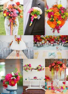 Bright and Bold Wedding Flowers Mood Board from The #Wedding Community