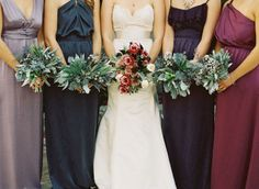Malibu Enchanted Garden Wedding: - The whole wedding is really beautiful!!! but I like these bouquets - and the bridesmaids are mismatched in a nice way - blue, lavender  purple.