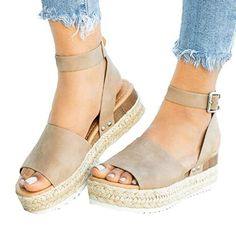 d765fef2c60c Summer Sandals Shoes Woman 2019 Zapatos De Mujer Casual Women s Rubber Sole  Studded Wedge Buckle Ankle
