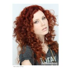 Glamorous Long Curly Red Hair ❤ liked on Polyvore