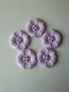 Lot of 5 Extra Large Flower Buttons  Lilac