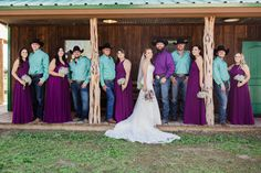 Wedding party in purple and teal colors Teal Dress For Wedding, Orchid Wedding Theme, Country Style Wedding Dresses, Teal Bridesmaid Dresses, Wedding Colors, Wedding Tux, Peacock Wedding, Wedding Ideas, Wedding Veils