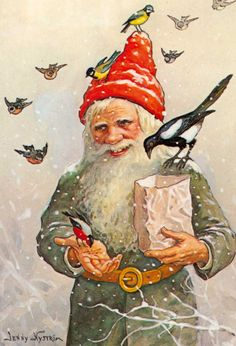 Elf Gnome Feeding the Birds Jenny Nystrom Holiday Christmas Counted Cross Stitch or Counted Needlepoint Pattern Vintage Christmas Cards, Christmas Images, Vintage Cards, Vintage Postcards, Vintage Images, Christmas Post, Swedish Christmas, Christmas Gnome, Scandinavian Christmas