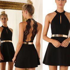 Short/Mini Chiffon Prom/Homecoming Dress - Black Keyhole Halter with Gold Sash