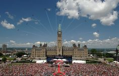 Air display over Parliament on Canada Day in Ottawa.