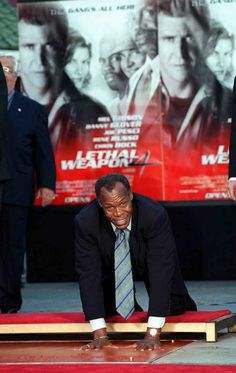 Historic Photograph of Danny Glover At His Hand And Footprint Ceremony At Grauman's Chinese Theater