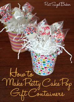 Pint Sized Baker: How to Make a Pretty Cake Pop Gift Container + A Giveaway - Baking - Kuchen Cake Pop Bouquet, Flower Cake Pops, Flower Cakes, Cupcake Bouquets, Baileys Irish Cream, Candy Melts, Cake Pop Centerpiece, Cake Pop Favors, Centerpiece Ideas