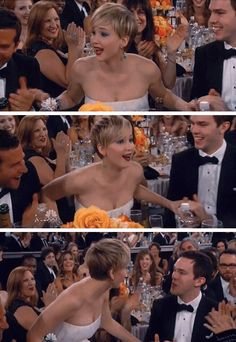 Jennifer Lawrence winning her second Golden Globe. This is like the cutest thing ever