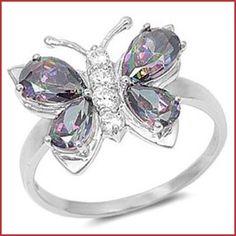 Kriskate & Co.Sterling Silver Rainbow Topaz CZ Butterfly Ring $32