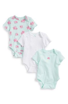 Little Me 'Posies' Cotton Bodysuits (Set of 3) (Baby Girls) available at #Nordstrom