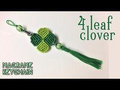Macrame tutorial: four leaf clover key chain – Simple, easy and lucky – Yo… - Jewelry Ideas Macrame Owl, Macrame Knots, Macrame Jewelry, Macrame Bracelets, Knot Bracelets, Micro Macramé, Half Hitch Knot, Macrame Bracelet Tutorial, Macrame Projects