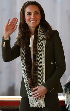 The Duchess of Cambridge looked radiant in a Smythe jacket over a blouse by Somerset by Temperley, and matching Zara jeans - and topped it off with a traditional scarf gifted to her by the people ofHaida Gwaii