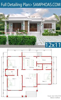 House Design with Full Plan 3 Bedrooms – SamPhoas Plansearch Haus Design mit Full Plan 3 Schlafzimmer – SamPhoas Plansearch House Layout Plans, Bungalow House Plans, Bungalow House Design, Bedroom House Plans, Dream House Plans, Small House Plans, House Layouts, House Floor Plans, Dream Houses