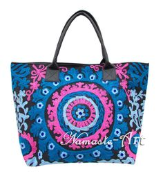 Indian Cotton Tote Suzani Art Embroidery Handbag Woman Shoulder Beach Boho Bag * #Namasteart #TotesShoppers