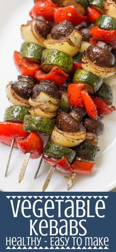 These healthy grilled Vegetable Kebabs are the best way to cook your veggies Paleo easy to make delicious - get ready to fire up your grill paleo grilled grilling vegetables vegan vegetarian healthy Vegetarian Recipes, Cooking Recipes, Healthy Recipes, Vegan Vegetarian, Vegetarian Grilling, Grill Recipes, Barbecue Recipes, Barbecue Sauce, Sausage Recipes