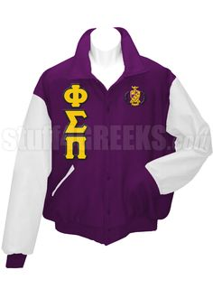 Purple Phi Sigma Pi Letterman Varsity Jacket with white sleeves, the Greek letters down the right, and the crest on the left breast.