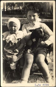 Poland, Leon Kovner and his sister Nina Kovner during a summer vacation, 1936. Leon Kovner is on the right. Nina perished in Auschwitz at the age of 9.