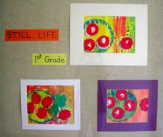 Matisse inspired apple still life. Aerial view. Traced paper plate; traced lids for apple shapes; painted apples first (used back of plastic spoon).Next meeting outlined plate with black oilp pastel, painted plate and background.
