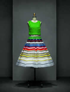 Ensemble, Raf Simons for House of Dior (French, founded 1947), Spring / Summer 2015 Haute Couture; Courtesy of Christian Dior Haute Couture. Manus x Machina exhibit opening at the Met May 2016.