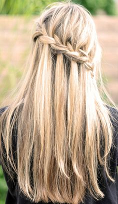 Half up, half down... waterfall braid. So cute.