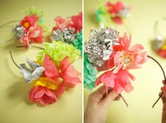 paper floral party hats - could be cute for a bridal shower