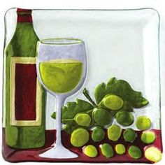 Buy the famous White Wine Glass Fusion Plate by Lori Siebert by Demdaco online today. Fused Glass Plates, Fused Glass Art, Stained Glass, White Wine Glasses, Italy Food, Paint Party, Wines, Alcoholic Drinks, Arts And Crafts