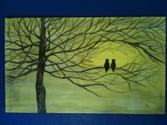Love Birds on a tree branch romance acrylic painting by BLLstudio,