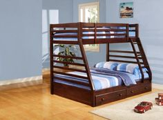Unique twin-over-full design. Built-in guard rails and ladder. Optional twin-storage drawers.