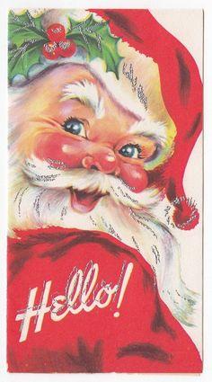 Vintage Greeting Card Christmas Santa Claus Silver Gilt AS-IS