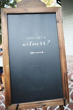 Can I Get a Witness? → Cute Chalkboard Signs for #Weddings | photo: Kay English | http://emmalinebride.com/decor/wedding-chalkboard-signs/