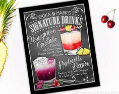 Wedding Decoration  Signature Drink Sign  DUAL by RockinChalk