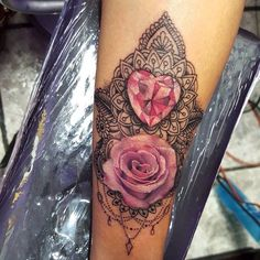 Image result for moon rose and jewelry tattoo